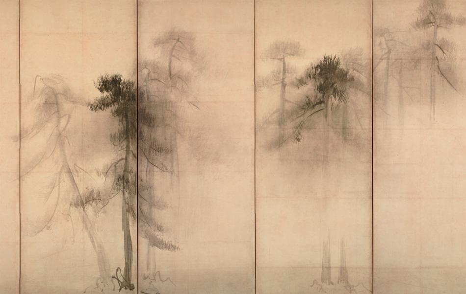 Хасэгава Тохаку Сосновый лес Фрагмент